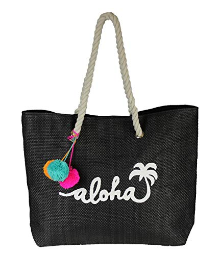 - Black Aloha Beach Tote Bag w/Pom Pom Tassels & Rope Handles - Large