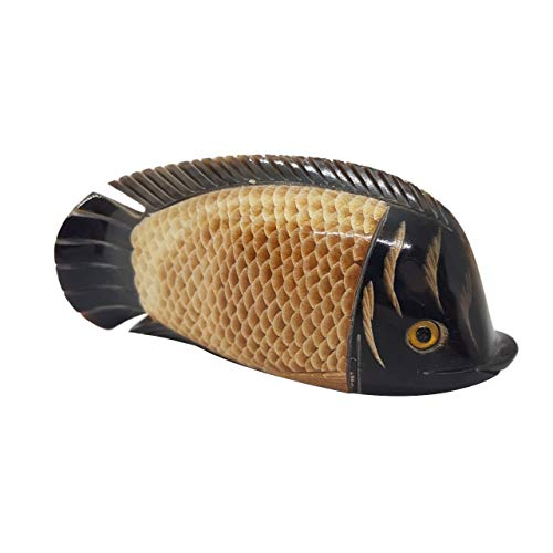 Water Buffalo's Horn Carved Fish Sculpture Decor Collectible Lucky Bone ()