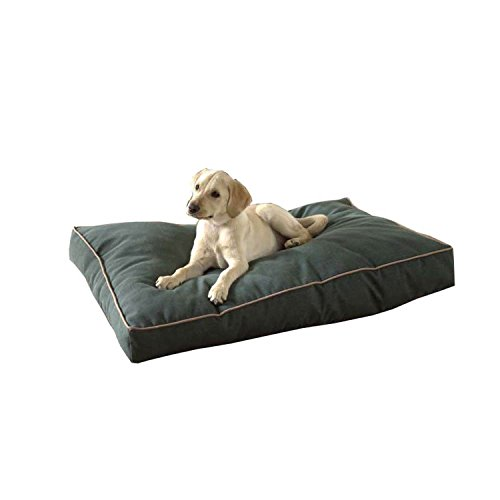 Carolina Pet Jamison Indoor/Outdoor Faux Gusset Bed for Pets, Green/Tan, Large
