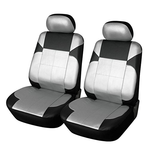 Seat Like Black Leather - 115309 Black/Silver-Leather Like 2 Front Car Seat Covers for Leaf 2020 2019 2018-2007
