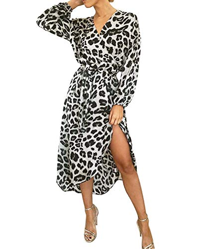 BYSBZD Womens Chic Leopard Print Faux Warp Belted Dress Long Sleeve Evening Party Grey S ()