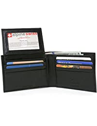 Men's Leather Bifold Wallet Removable Flip Up ID Window
