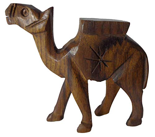 1 Pcs Egyptian Egypt Hand Made Wooden Camel Hand Crafted Animal Figurine Sculpture Figurine Hand Carved Figurines Of An Mother Statue Decorative Miniature Made From Single Block Of Wood 229 ()