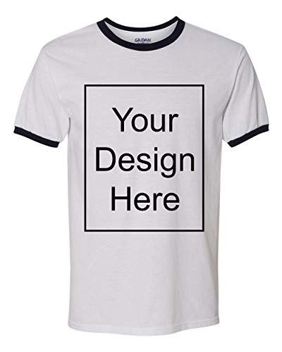 Add Your Own and Text Design Custom Personalized Ringer Adult T-Shirt Tee (XXX Large, White/Navy Blue)