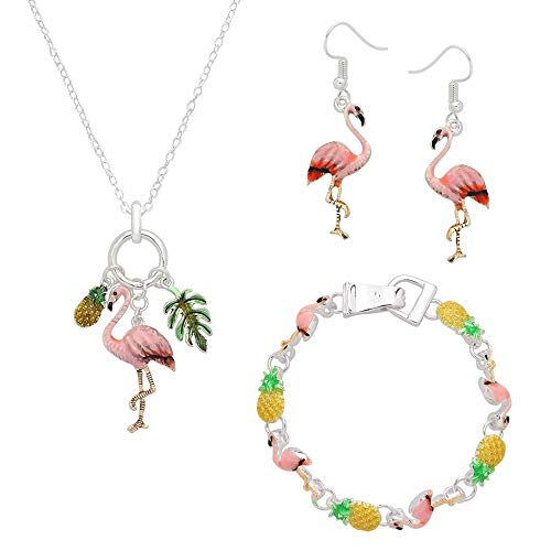 Lola Bella Gifts Hand Painted Artisan Pink Flamingo Pineapples and Palm Necklace Earrings and Bracelet Set w Gift Box ()