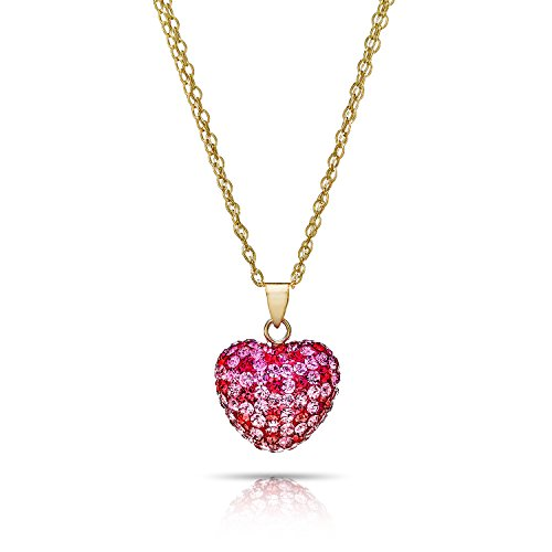 Pori Jewelers 14K Gold Pave Austrian Crystal Heart Pendants in 18 inch Chain (Multi Rose)