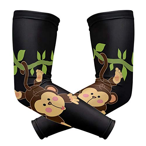 Anti Slip Fake Temporary Tattoo Sleeves for Unisex Cute Monkey Cooling and Warmer Both for Summer and -