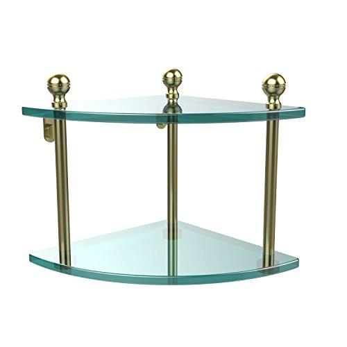 Allied Brass MA-3-SBR Mambo Collection 2 Tier Corner Glass Shelf Satin Brass