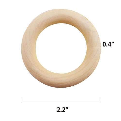 """ISusser 50pcs DIY Natural Wood Rings, 2.2""""(55mm)"""