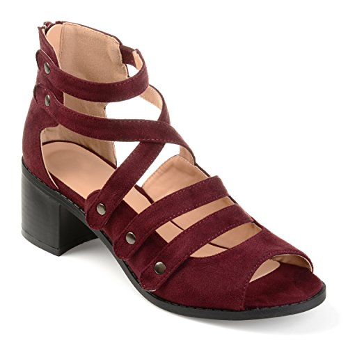 Journee Collection Womens Multi-Strap Open-Toe Heeled Sandals Wine, 8 Regular (Arbor Collection)