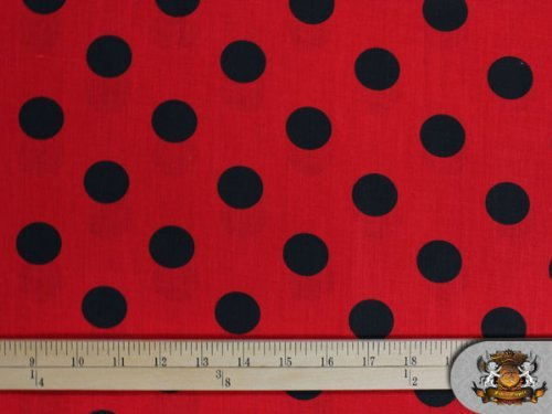 Polycotton Printed Polka Dots Black RED Background Fabric By the Yard ()