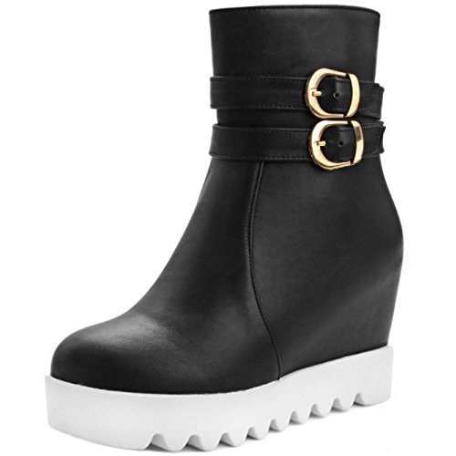 RAZAMAZA Women High Buckle Strap Outdoor High Women Wedge Heel Booties Shoes B075M883PT Shoes 451b5b