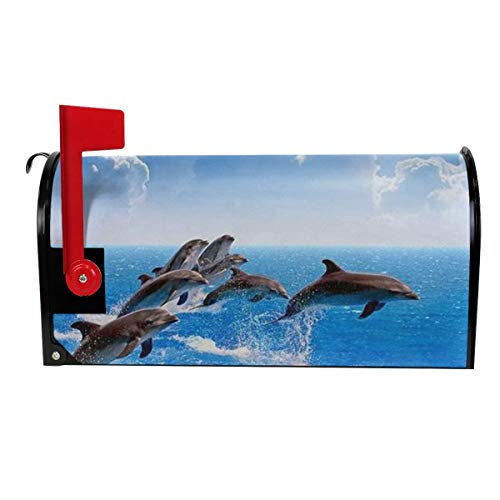 (Unique 3D Animal Dolphin Print Mailbox Cover Magnetic Mailbox Wraps Post Letter Box Cover Standard Size)