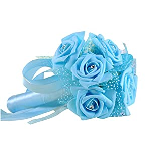 Transer Crystal Roses Pearl Bridesmaid Wedding Bouquet Bridal Artificial Silk Flowers (Light Blue) 88