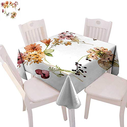 cobeDecor Rustic Stain Resistant Wrinkle Tablecloth Flower Bouquet in Watercolors Gerbera Daffodil Poppy Daisy Composition Artwork Print Square Wrinkle Resistant Tablecloth 60