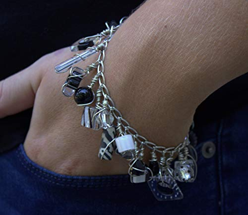 Sterling Silver Wire Wrapped Lampwork Glass Beads Bracelet, Sterling Silver Chain Bracelet, Artisan Handmade One of a Kind