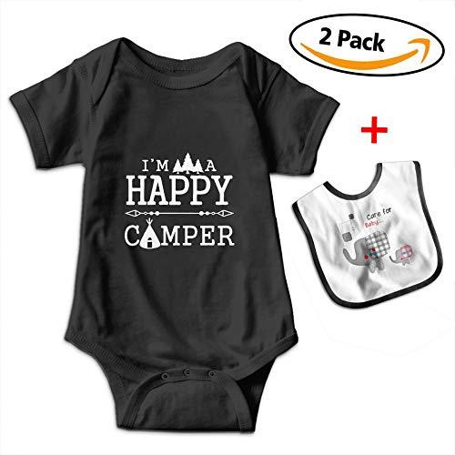 Camper Short Sleeve Onesie - POOPEDD Happy Camper Unisex Baby Short Sleeve Onesies Baby Bodysuits Infant Bibs