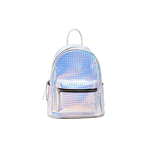 Silver Quilted Metallic Backpack