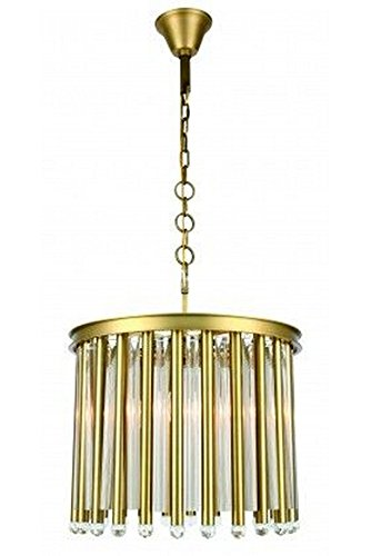 Elegant Lighting 1140D20BB Maxwell - Four Light Adjustable Chandelier, Burnished Brass Finish with Royal Cut Crystal