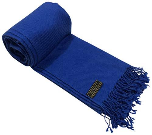 Royal Blue High Grade 100% Cashmere Shawl Wrap Hand Made in Nepal CJ Apparel NEW ()