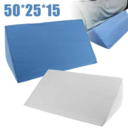 Yu2d  Acid Reflux Foam Bed Wedge Pillow Leg Elevation Back Lumbar Support Cushions(White,Blue 1)]()