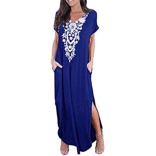 Dressin Vintage Bohe Long Dress Fashion 2019 V Neck Short Sleeve Side Split Pocket Long Maxi Dress for Women Blue