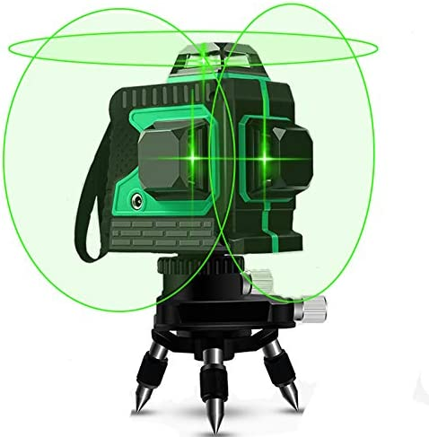 3D Green Beam Laser Level 360 Degree Cross Lines 100 Feet Indoor – Plane Leveling and Alignment Laser Level -1 Vertical and 2 Horizontal 360 Degree Lines with Mini Tripod Base