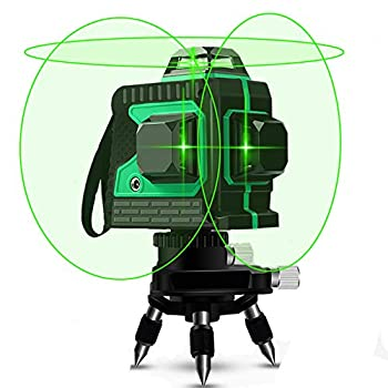 Image of Home Improvements 3D Green Beam Laser Level 360 Degree Cross Lines 100 Feet Indoor - Plane Leveling and Alignment Laser Level -1 Vertical and 2 Horizontal 360 Degree Lines with Mini Tripod Base