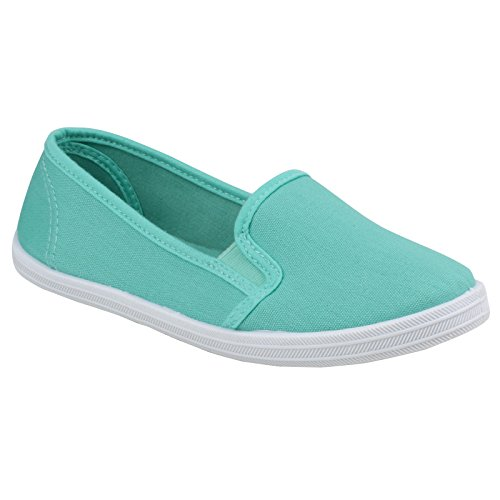 Divaz Womens/Ladies Garland Slip on Casual Every-day Summer Pumps Menta