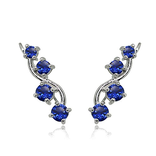 (Sterling Silver Created Blue Sapphire Vine Climber Crawler Earrings )