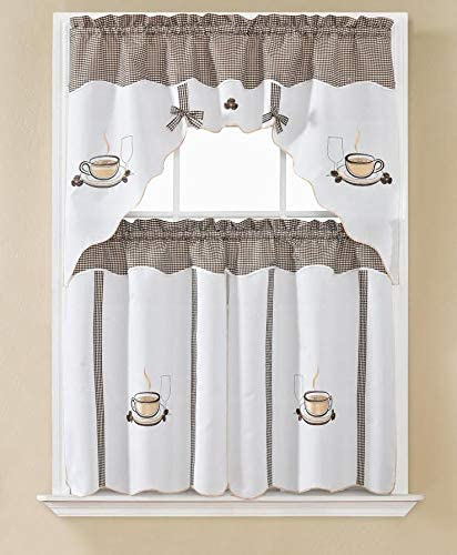 Curtains Window Treatments Coffee Java 3pc Kitchen Swags Cup Brown Diner Curtain Swag Valance Set Home Living
