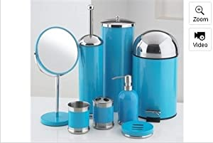 piece bathroom accessories set blue amazon co uk kitchen home - Teal Bathroom Accessories Uk