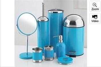 8 piece bathroom accessories set blue amazoncouk kitchen home