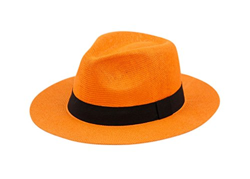(Wide Brim Paper Straw Fedora, Classic C Crown Panama Sun Hat with Grosgrain Band and Adjustable Drawstring (One Size Fits Most))