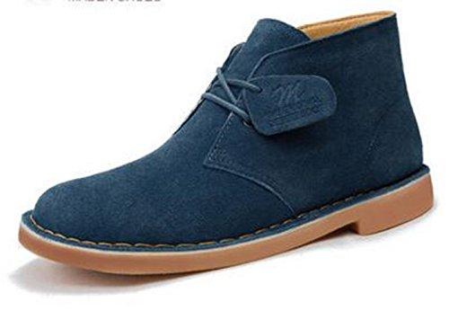 Happyshop (tm) Stivali Martin In Pelle Di Mucca Da Uomo Desert Boot Stivaletti Abiti Da Lavoro Business Desert Shoe Deep Blue