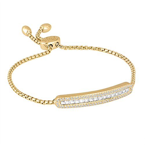 Rhythm & Muse Gold over Sterling Silver Created White Sapphire Halo Bar (Gold Sapphire Bracelet Slide)
