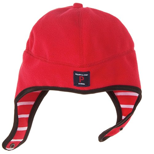 - Polarn O. Pyret CLASSIC STRIPE ECO FLEECE HELMET - 1-2 months/Poppy