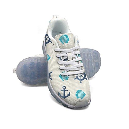 Faaerd Modello Di Ancoraggio E Pesce Mens Moda Leggero Mesh Cuscino Daria Sneakers Scarpe Da Tennis