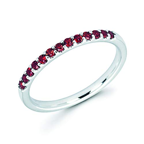 (14K White Gold 1/4 Cttw Genuine Garnet Stackable 2MM Wedding Anniversary Band Ring - January Birthstone, Size 5.5)