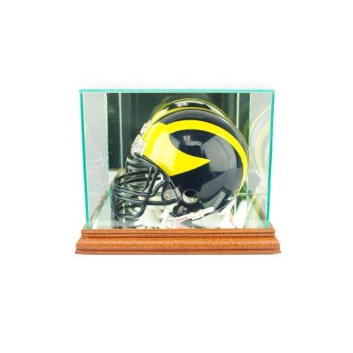 (Perfect Cases NFL Mini Football Helmet Glass Display Case, Walnut)