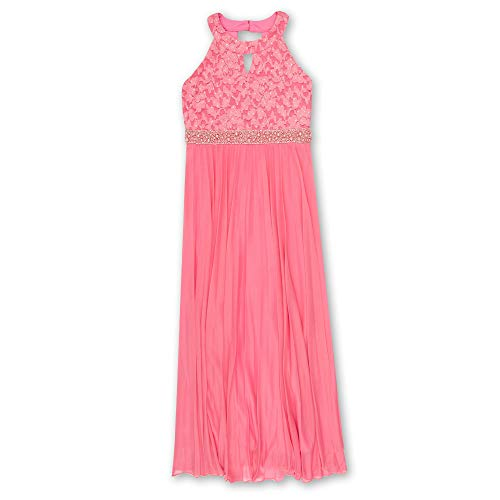 Embellished Cut Out Dress - Speechless Girls' Big 7-16 Tween Full-Length Pleated Maxi Dress with Neck Cut Out, Coral, 12