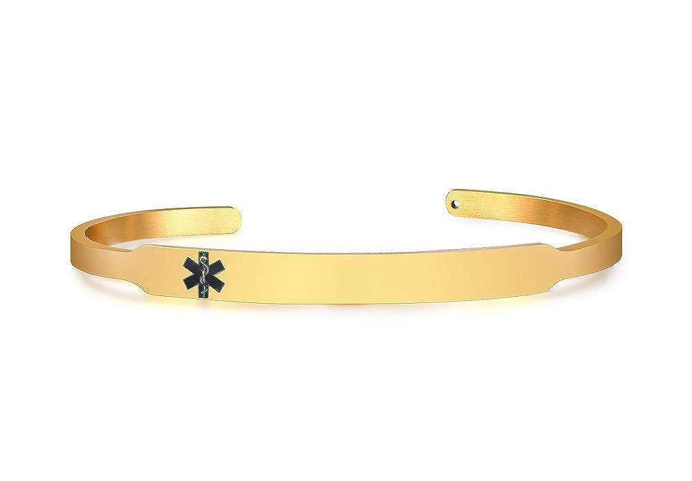Custom Engraved Gold Plated Stainless Steel Skinny Medical Alert ID Bangle Bracelets for Women Mealguet MG--B--239G--1--KZ