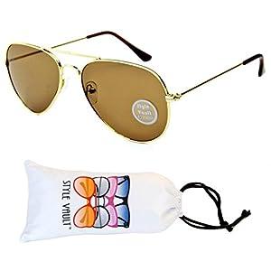 A129-vp Style Vault Aviator Metal Mirrored Sunglasses (S1106GB Gold-Brown, uv400)