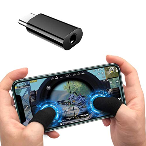 KMNIC Play Nonstop The pubg Game with 3.5mm Adapter Headphone Earphone Jack Aux Adapter for Type C Device. with Gaming Anti-Sweat Breathable Touch Finger Gloves for Mobile Phone Games.