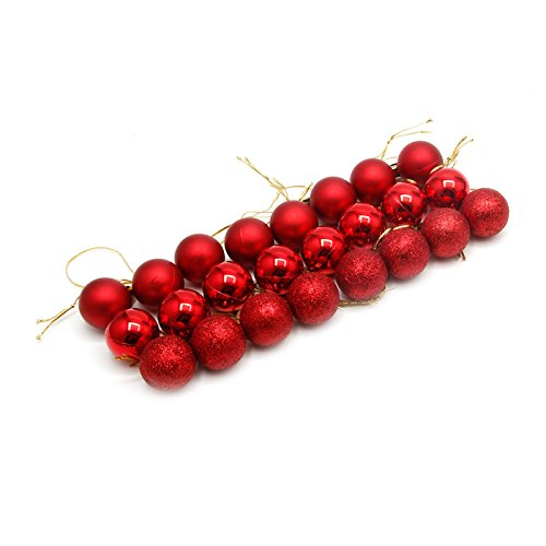 Yziss 24Pcs Glitter Christmas Balls Xmas Tree Baubles Hanging Decor Christmas Ornament Decorated Glass Ball Ornament (Red) (Ball Ornaments Glass Decorated)