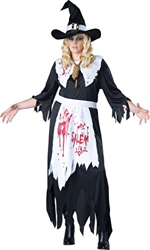 InCharacter Costumes Women's Plus-Size Salem Witch Costume, Black/White,