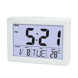Digital Clock,HOOKE Morning Alarm Clock with 1.4 Large Display,Timer,Indoor Temperature/Day/Date Display,Repeating Snooze and Sound Control Lighting Function (White)