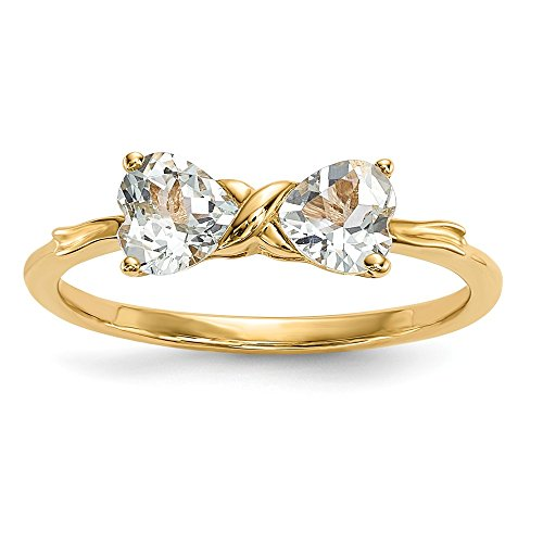 14k Yellow Gold Blue Aquamarine Bow Band Ring Size 7.00 Set Birthstone March Fine Jewelry Gifts For Women For Her