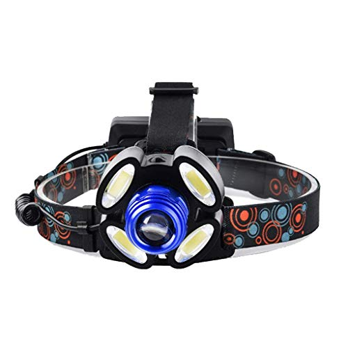 Headlamp super bright long-range charge LED headlamp fishing lights, multifunction headlamp, four light modes, LED backlight, waterproof rubber switch, high-grade bill (Color : -, Size : -)
