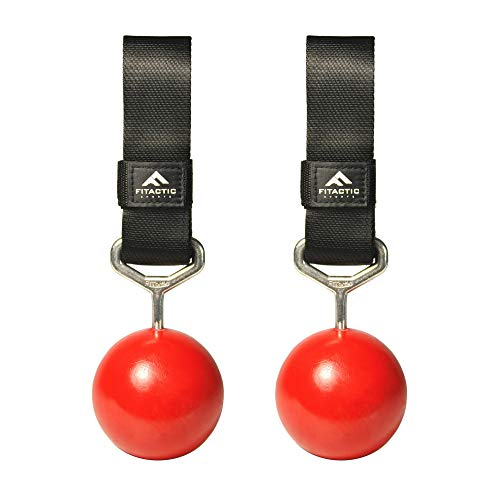 FITactic 3 Inches Rock Climbing Solid Training Cannonball Bomb Pull Up Power Ball Hold Grips for Straps for Finger, Forearm, Biceps, Back Muscles (Qty 2, Red)